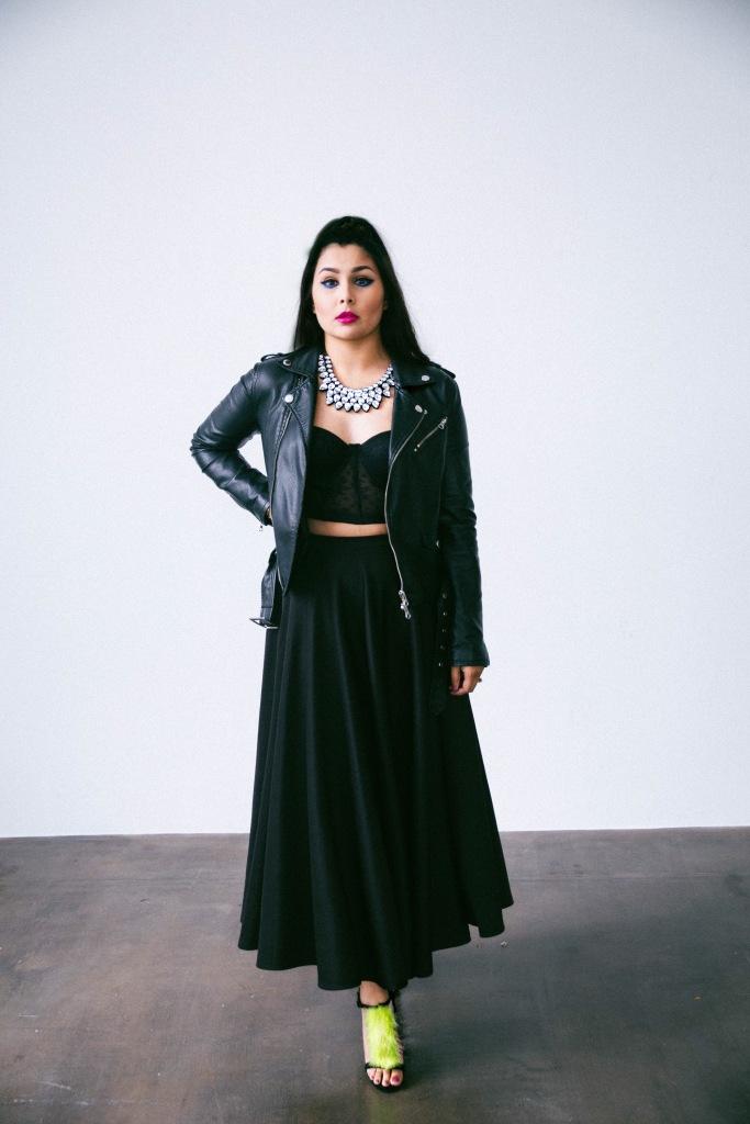 black leather jacket midi